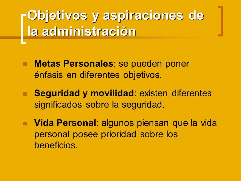 Objetivos y aspiraciones de la administración