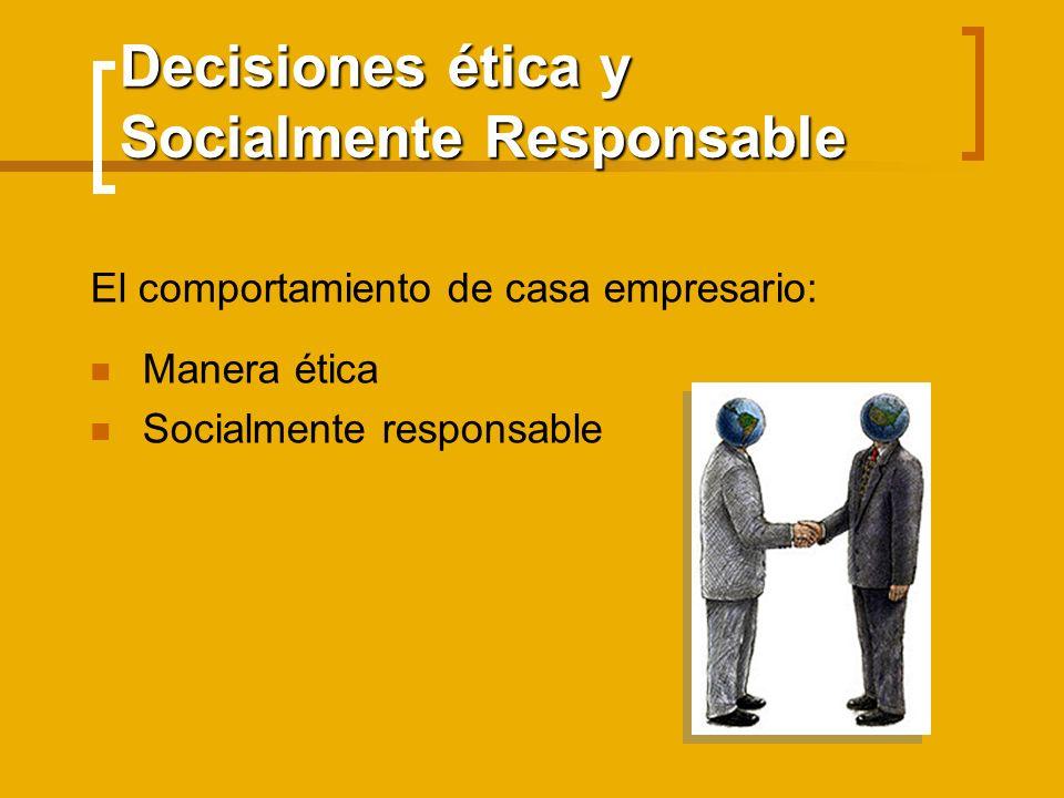 Decisiones ética y Socialmente Responsable