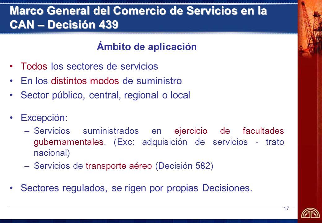 Marco General del Comercio de Servicios en la CAN – Decisión 439