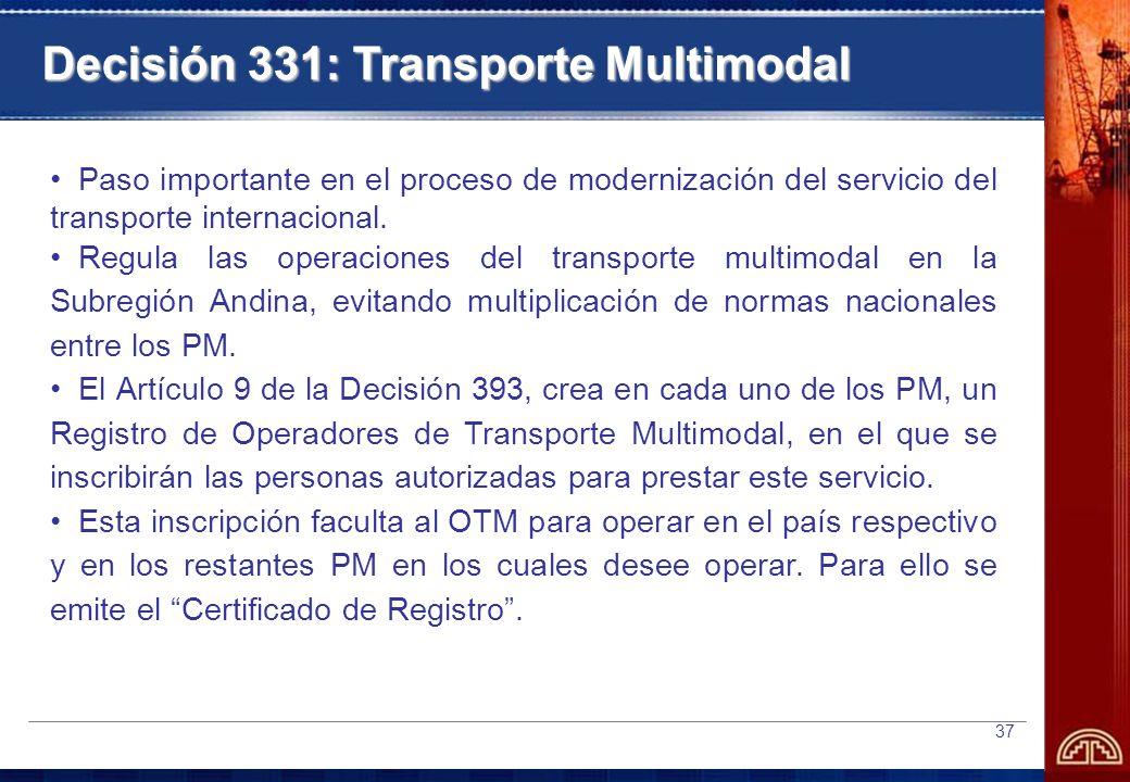 Decisión 331: Transporte Multimodal