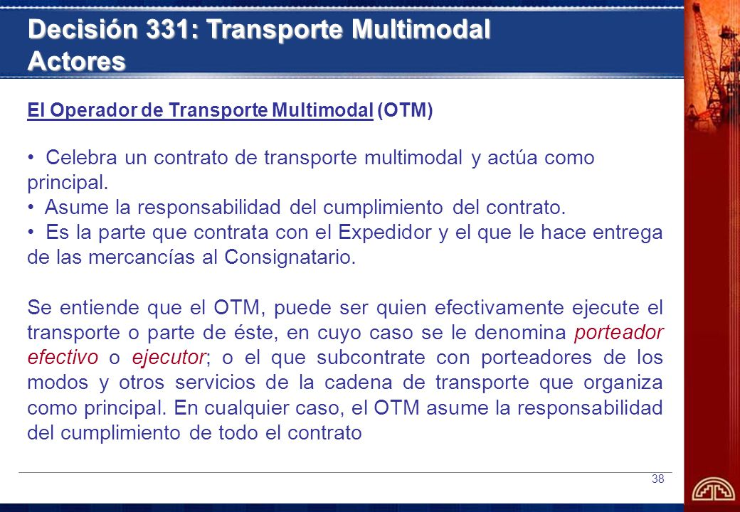 Decisión 331: Transporte Multimodal Actores