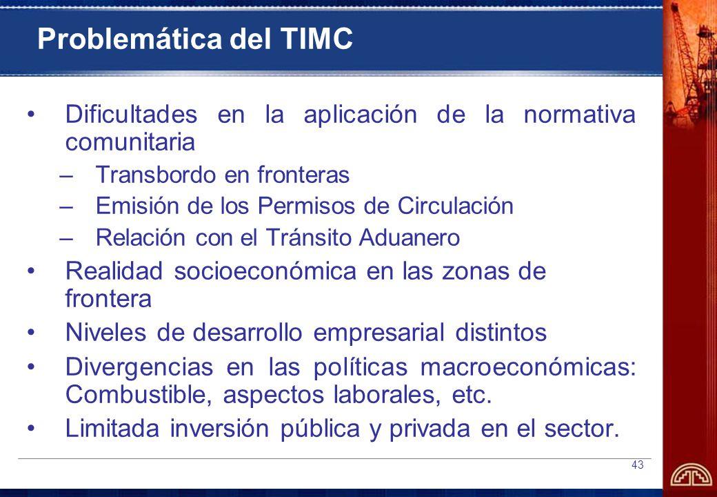Problemática del TIMC Dificultades en la aplicación de la normativa comunitaria. Transbordo en fronteras.