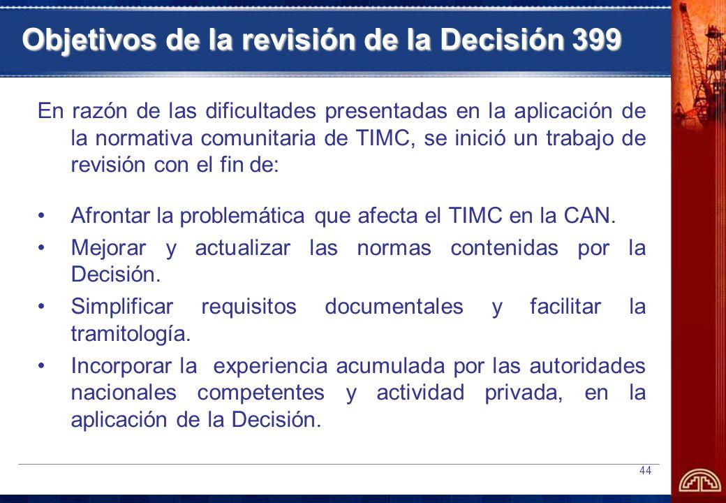 Objetivos de la revisión de la Decisión 399