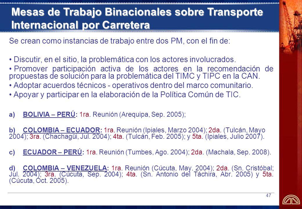 Mesas de Trabajo Binacionales sobre Transporte Internacional por Carretera