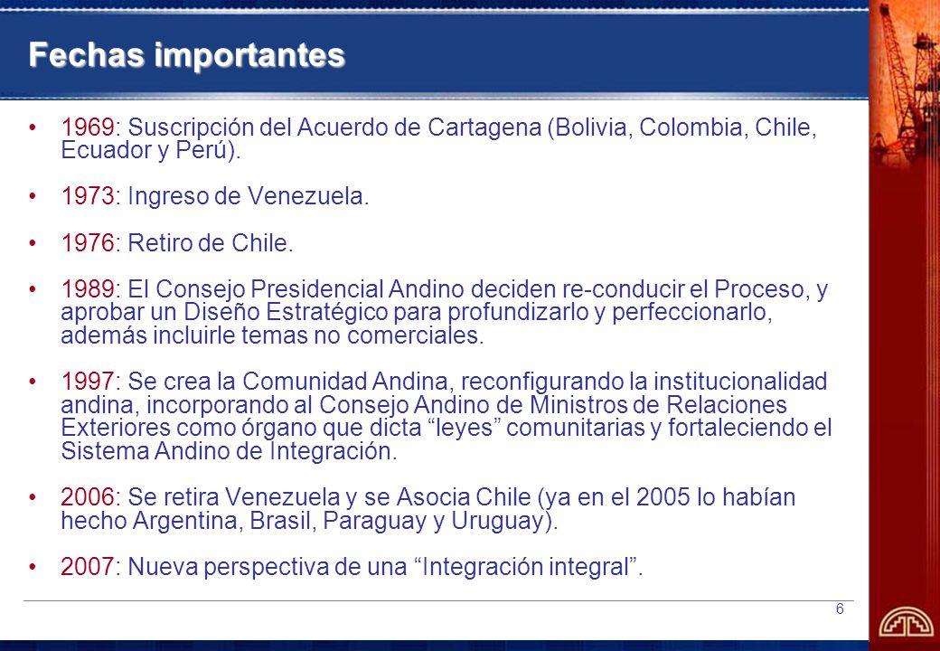 Fechas importantes 1969: Suscripción del Acuerdo de Cartagena (Bolivia, Colombia, Chile, Ecuador y Perú).