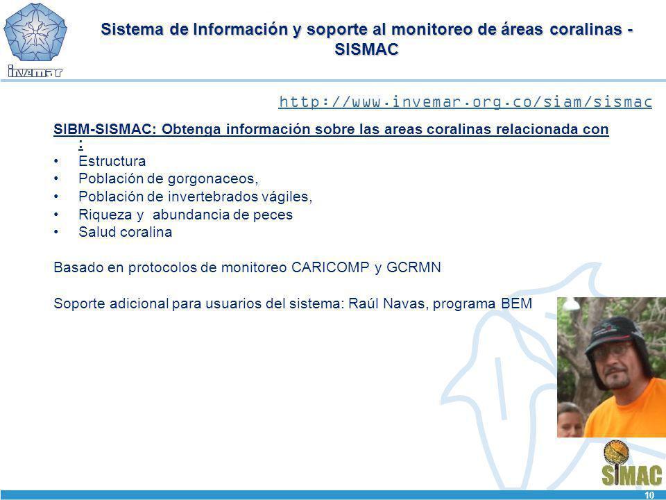 Sistema de Información y soporte al monitoreo de áreas coralinas - SISMAC