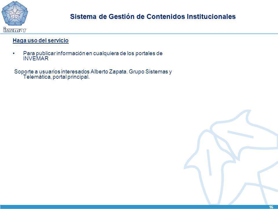 Sistema de Gestión de Contenidos Institucionales