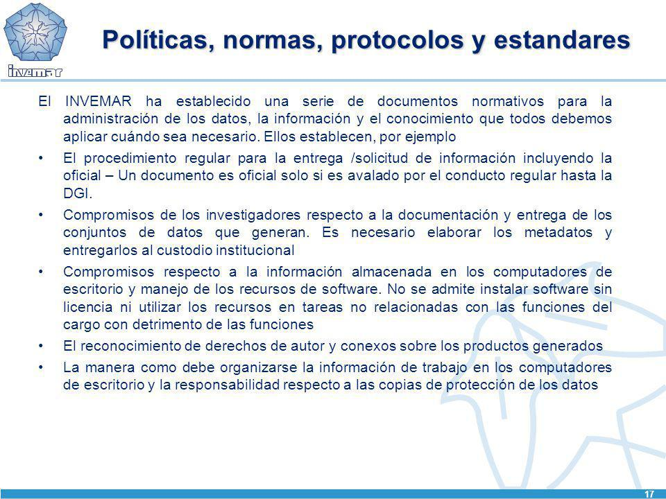 Políticas, normas, protocolos y estandares