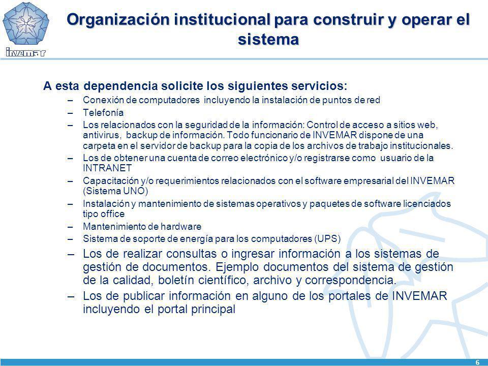 Organización institucional para construir y operar el sistema