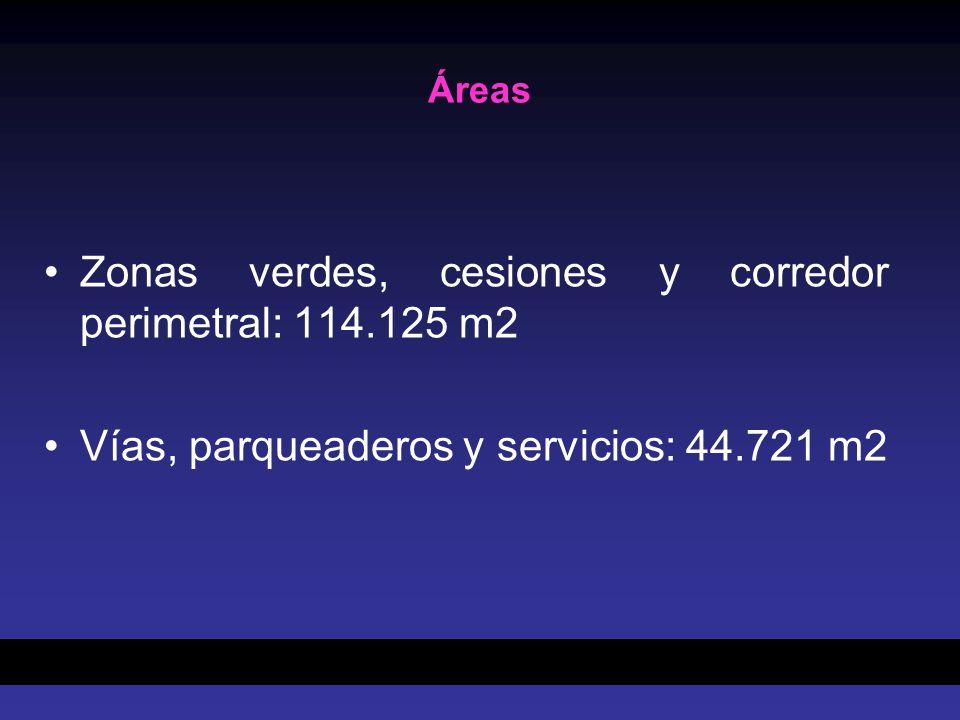 Zonas verdes, cesiones y corredor perimetral: 114.125 m2