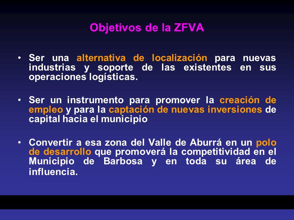 Objetivos de la ZFVA Ser una alternativa de localización para nuevas industrias y soporte de las existentes en sus operaciones logísticas.