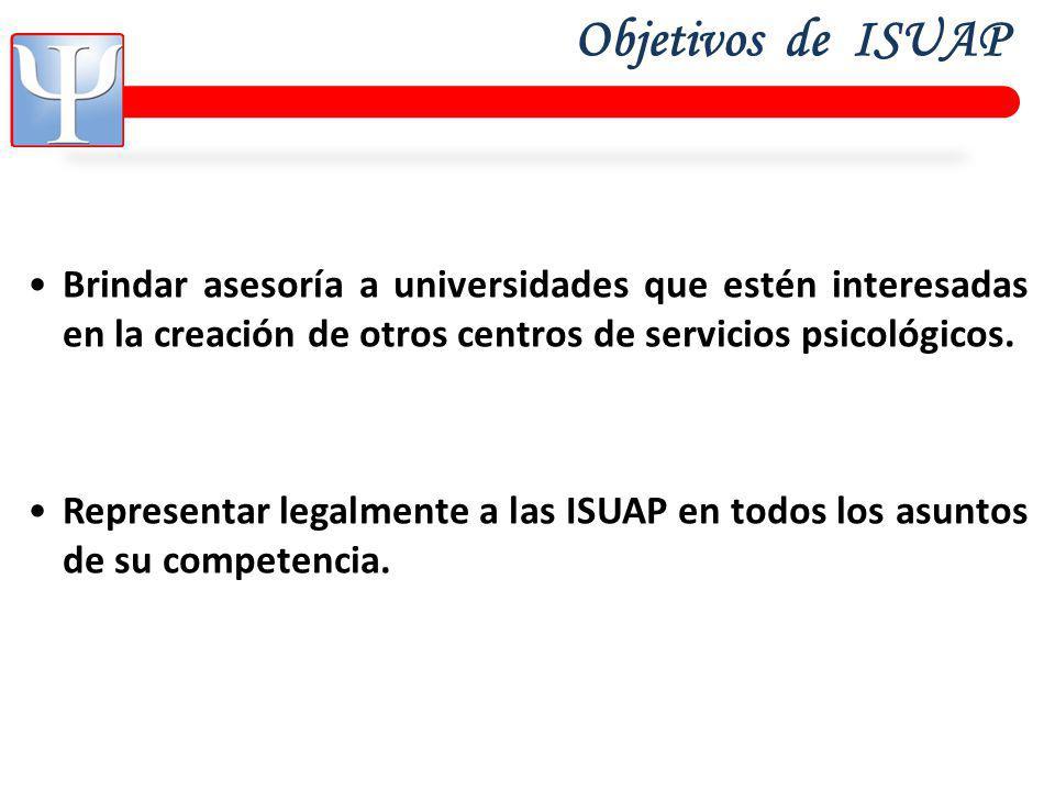 Objetivos de ISUAP Brindar asesoría a universidades que estén interesadas en la creación de otros centros de servicios psicológicos.