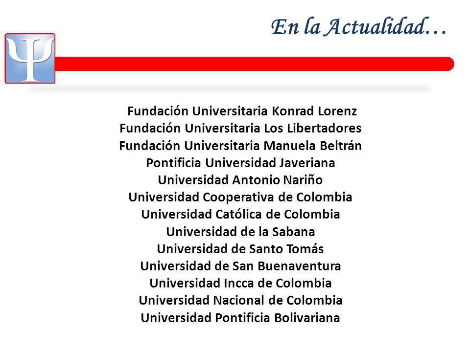 En la Actualidad… Fundación Universitaria Konrad Lorenz