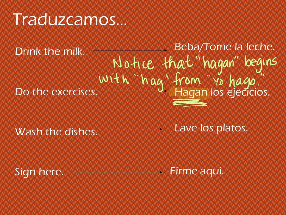 Traduzcamos… Beba/Tome la leche. Drink the milk. Do the exercises.