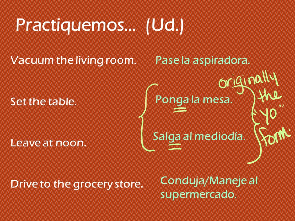Practiquemos… (Ud.) Vacuum the living room. Set the table.