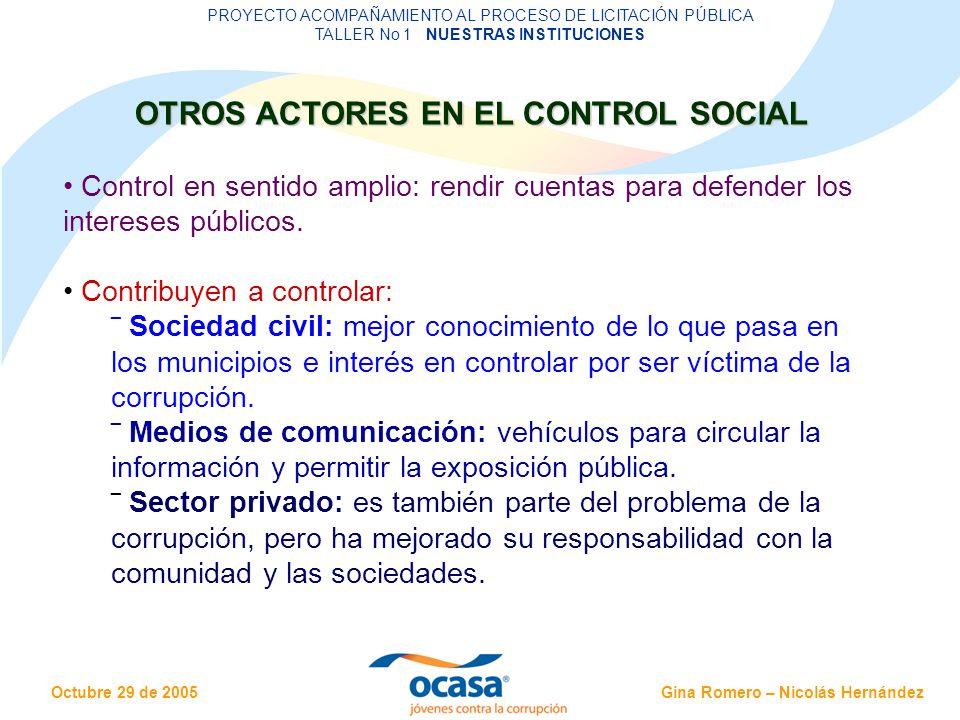 OTROS ACTORES EN EL CONTROL SOCIAL