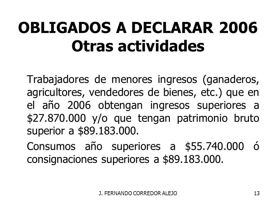 OBLIGADOS A DECLARAR 2006 Otras actividades