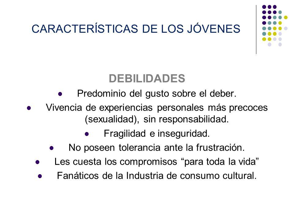 CARACTERÍSTICAS DE LOS JÓVENES