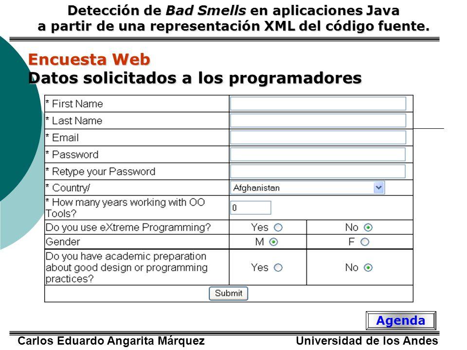 Datos solicitados a los programadores