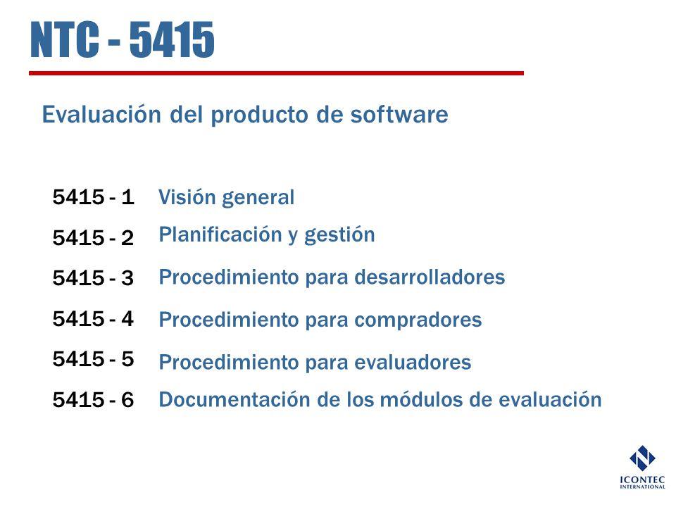 NTC - 5415 Evaluación del producto de software 5415 - 1 5415 - 2