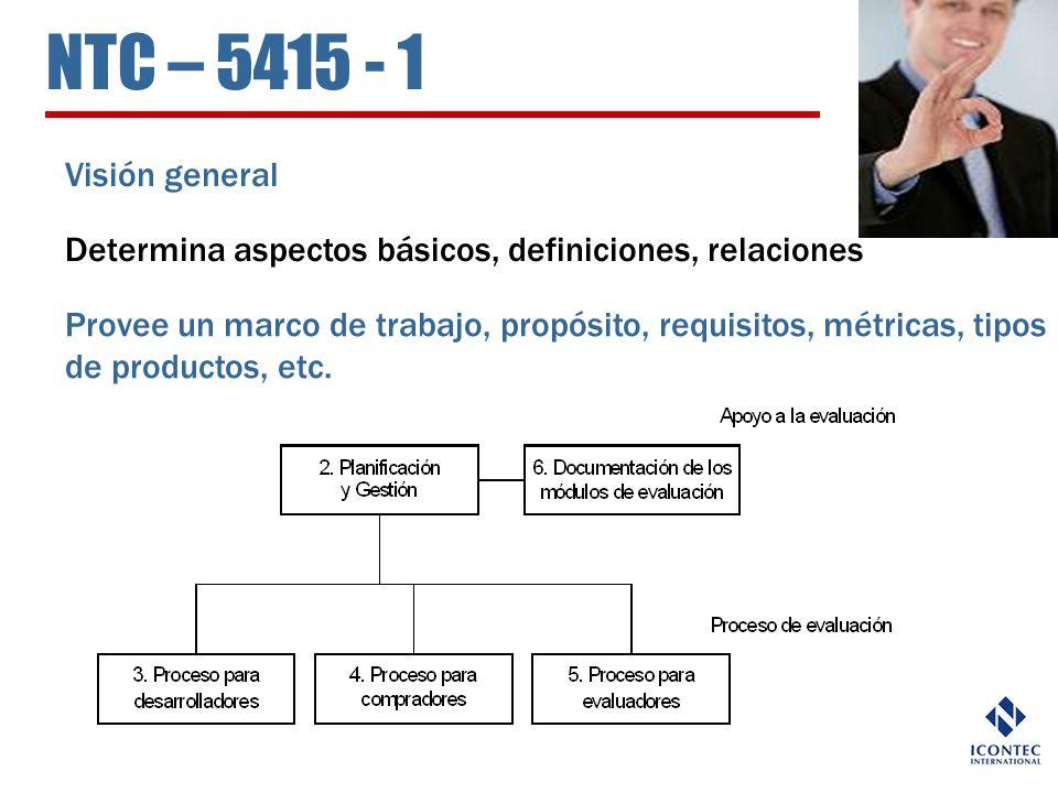 NTC – 5415 - 1 Visión general. Determina aspectos básicos, definiciones, relaciones.
