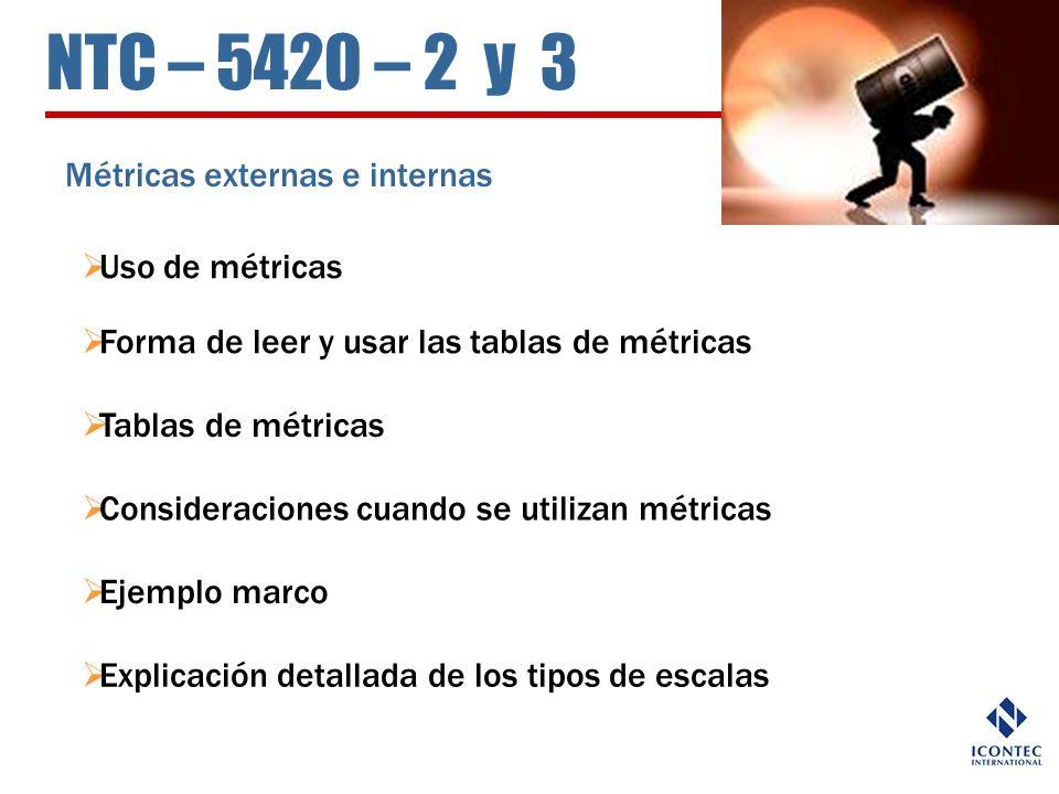 NTC – 5420 – 2 y 3 Métricas externas e internas Uso de métricas