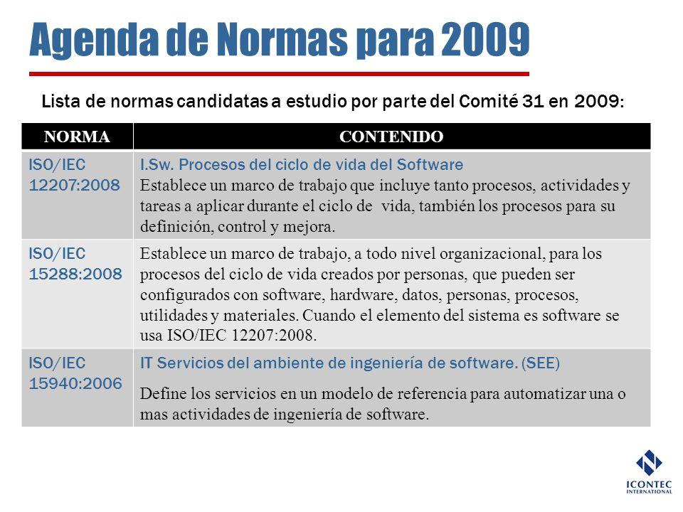 Agenda de Normas para 2009 Lista de normas candidatas a estudio por parte del Comité 31 en 2009: NORMA.