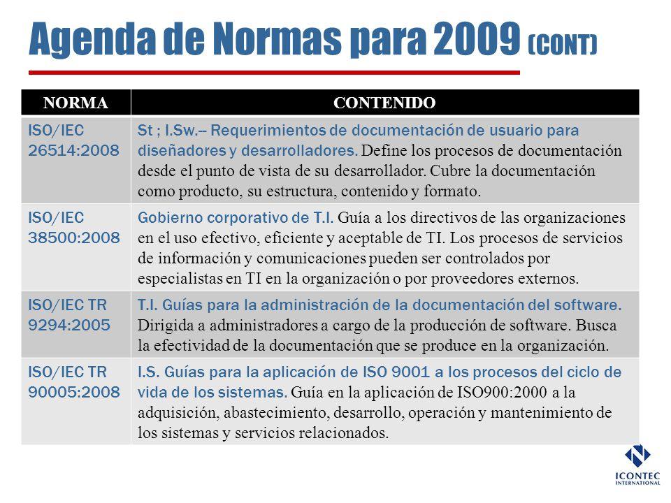 Agenda de Normas para 2009 (CONT)