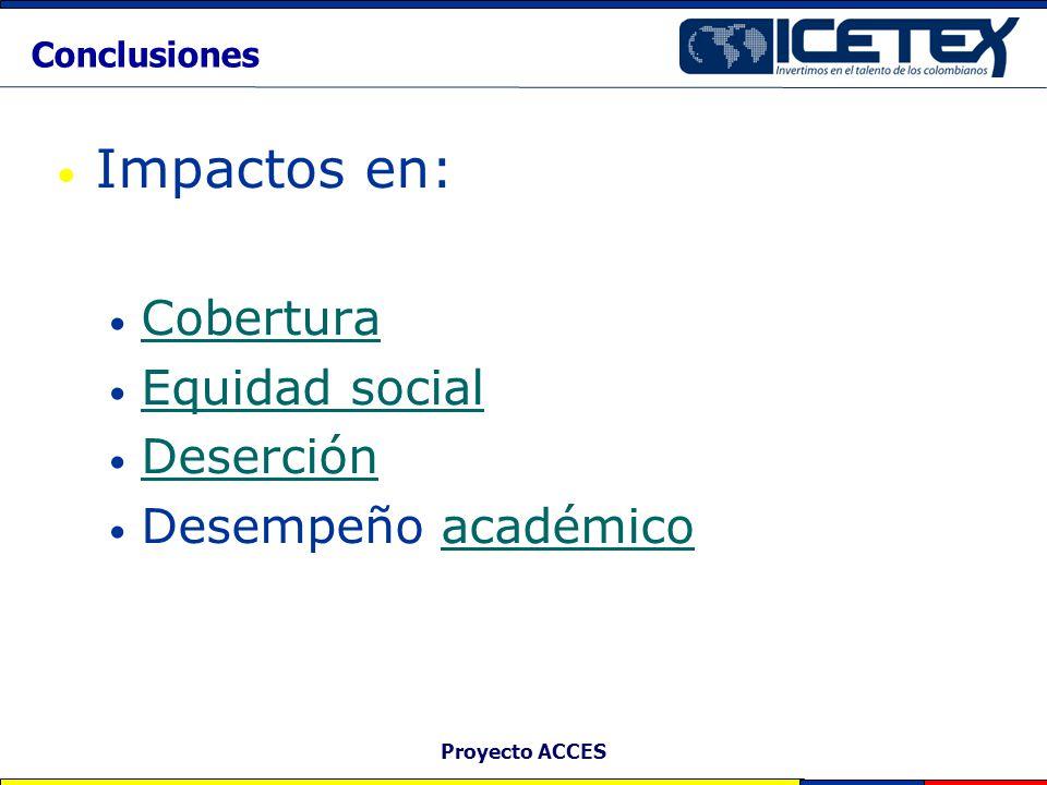 Impactos en: Cobertura Equidad social Deserción Desempeño académico