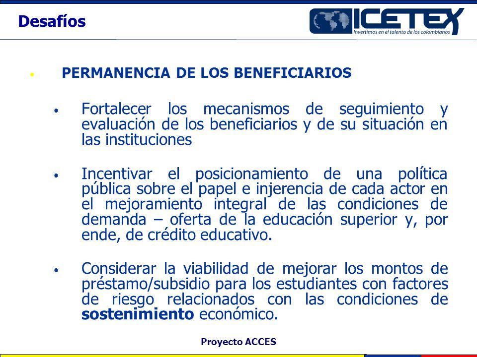 Desafíos PERMANENCIA DE LOS BENEFICIARIOS.