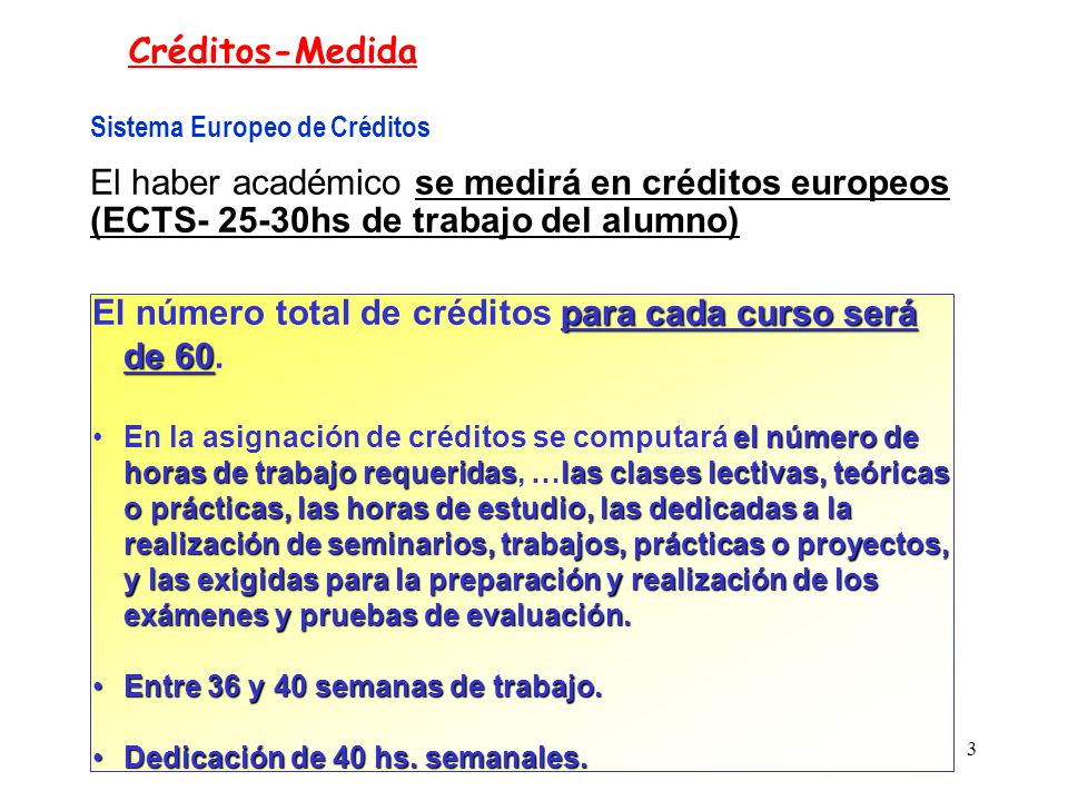 El número total de créditos para cada curso será de 60.