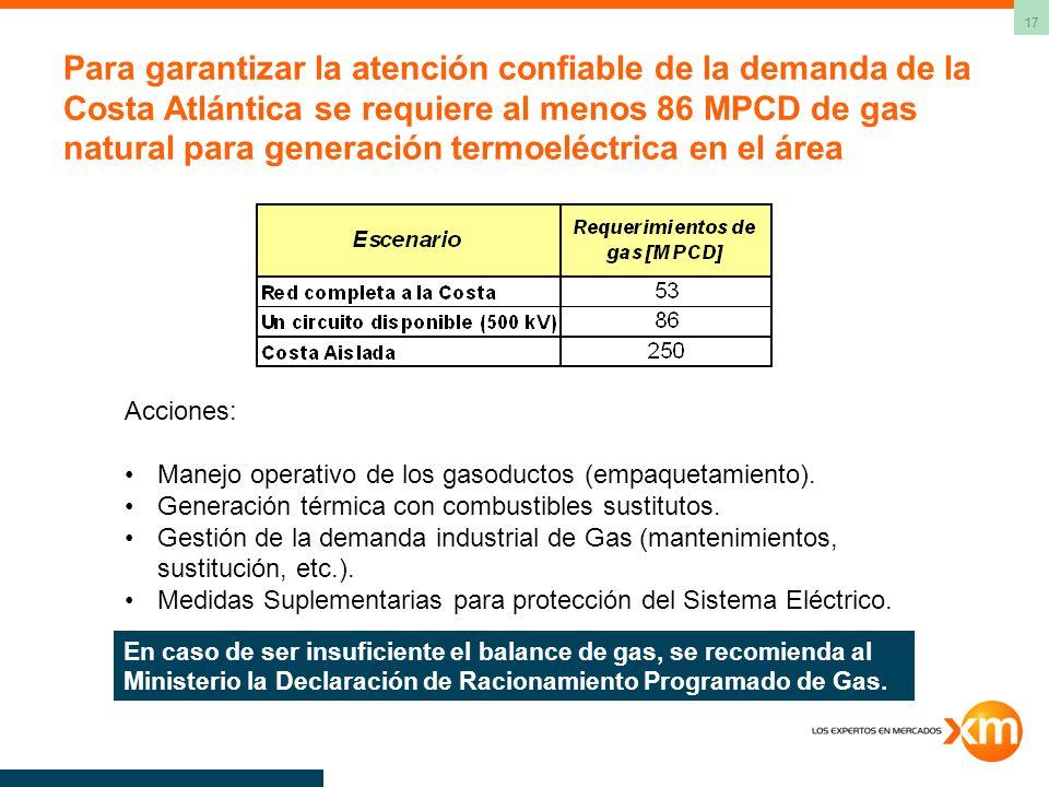 Para garantizar la atención confiable de la demanda de la Costa Atlántica se requiere al menos 86 MPCD de gas natural para generación termoeléctrica en el área