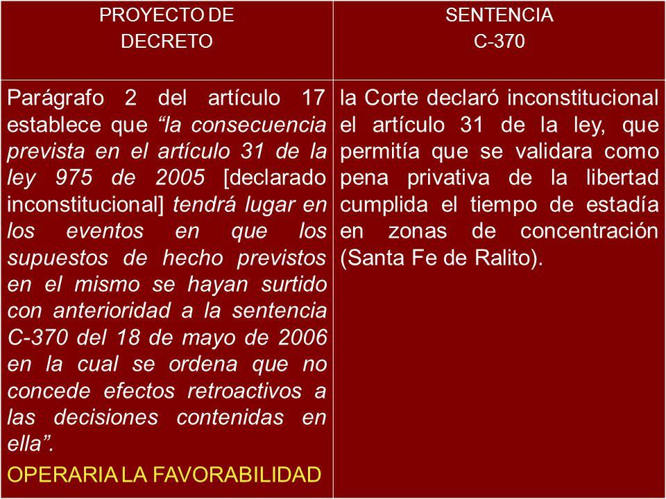 PROYECTO DE DECRETO. SENTENCIA. C-370.