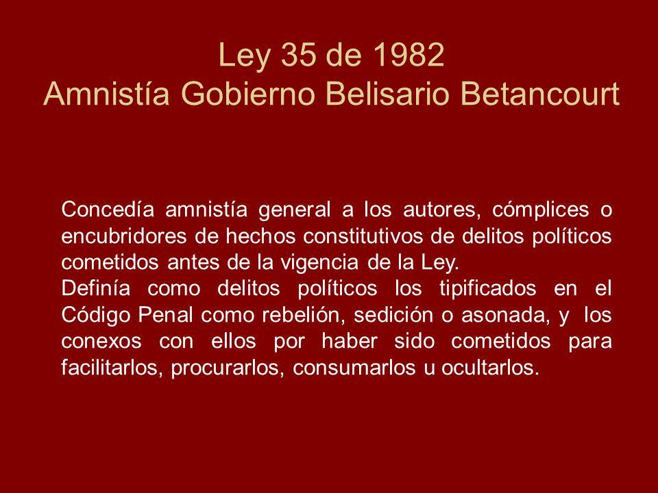 Ley 35 de 1982 Amnistía Gobierno Belisario Betancourt