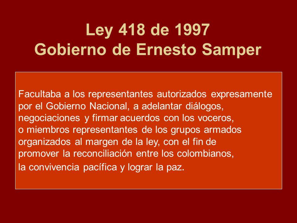 Ley 418 de 1997 Gobierno de Ernesto Samper