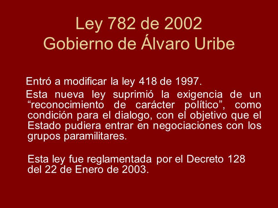 Ley 782 de 2002 Gobierno de Álvaro Uribe