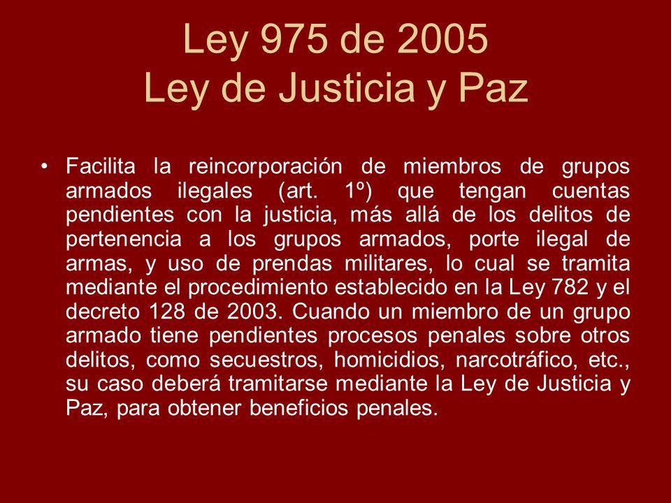 Ley 975 de 2005 Ley de Justicia y Paz
