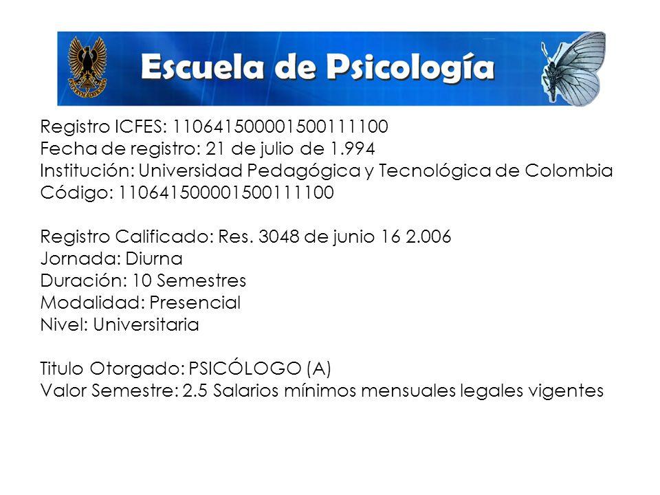 Registro ICFES: 110641500001500111100 Fecha de registro: 21 de julio de 1.994 Institución: Universidad Pedagógica y Tecnológica de Colombia Código: 110641500001500111100 Registro Calificado: Res.
