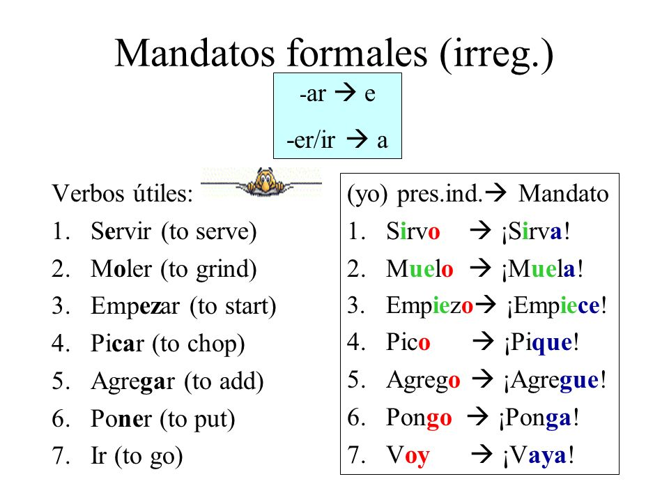 Mandatos formales (irreg.)