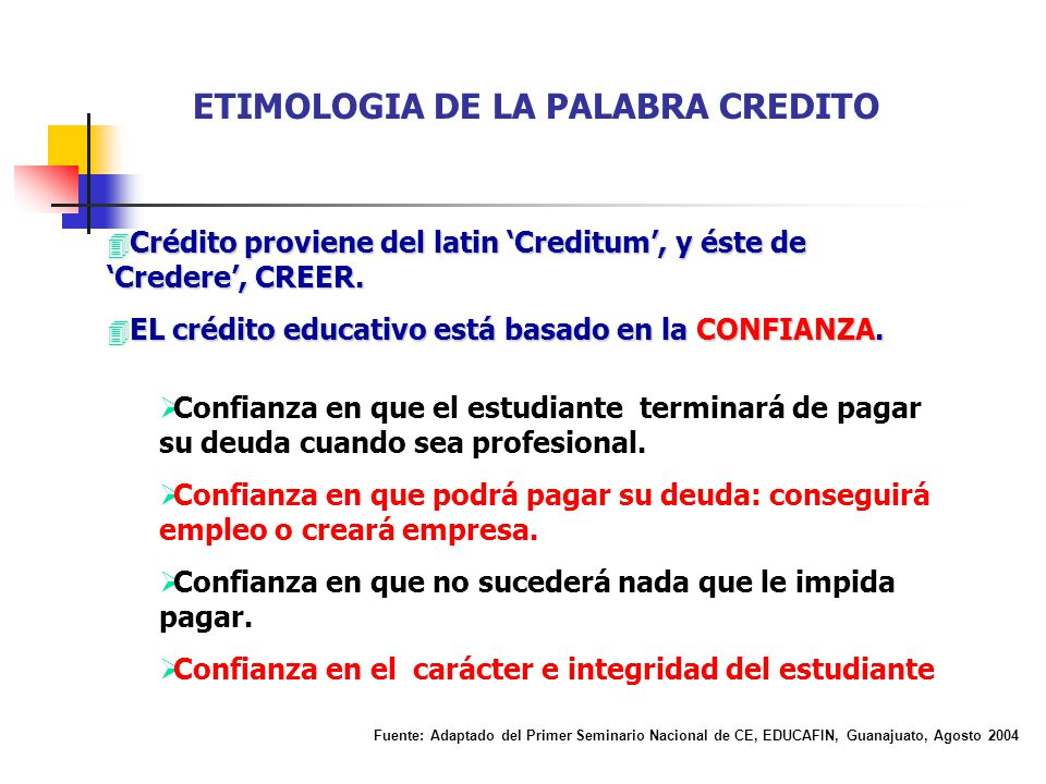 ETIMOLOGIA DE LA PALABRA CREDITO