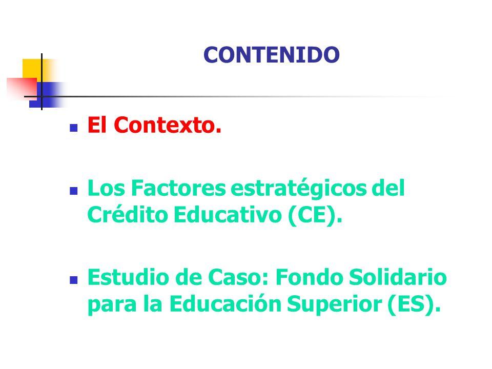 CONTENIDO El Contexto. Los Factores estratégicos del Crédito Educativo (CE).