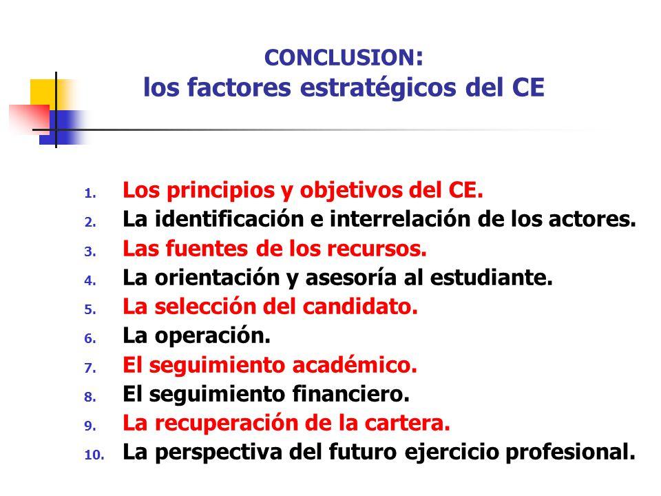 CONCLUSION: los factores estratégicos del CE