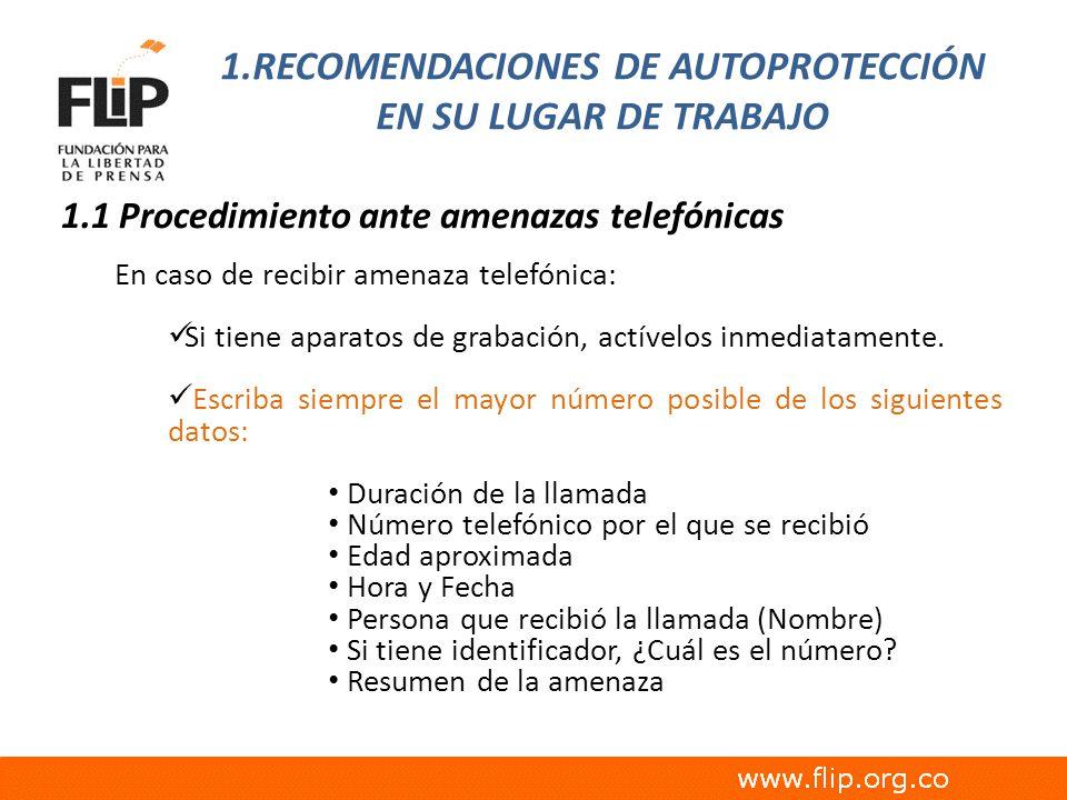 1.RECOMENDACIONES DE AUTOPROTECCIÓN EN SU LUGAR DE TRABAJO
