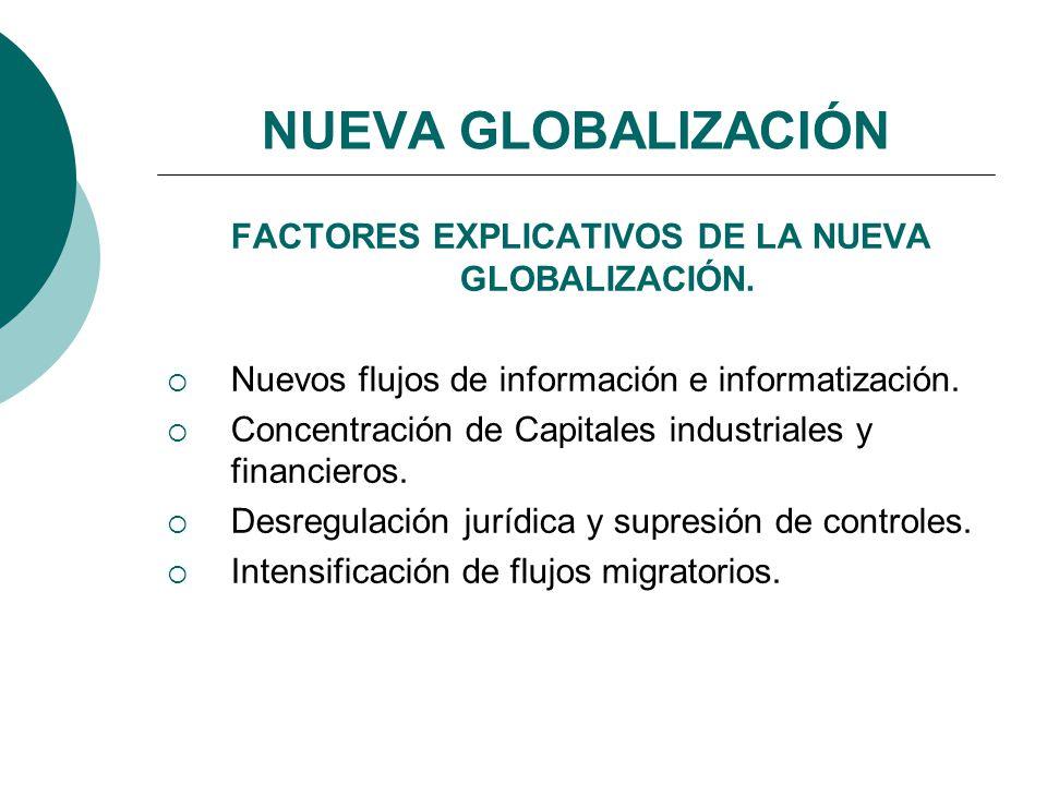 FACTORES EXPLICATIVOS DE LA NUEVA GLOBALIZACIÓN.