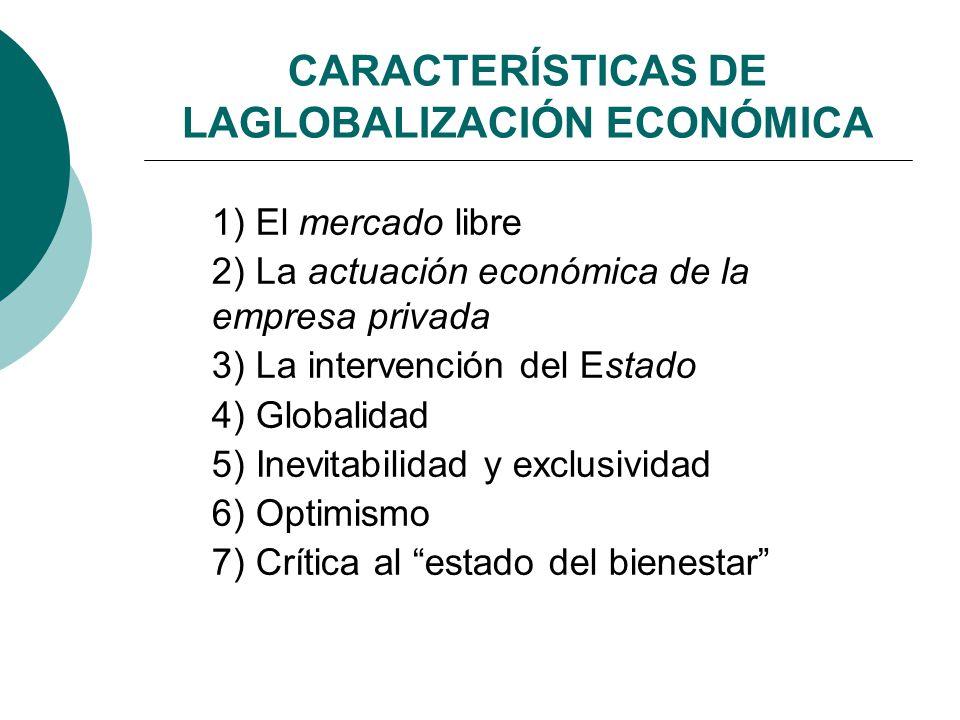 CARACTERÍSTICAS DE LAGLOBALIZACIÓN ECONÓMICA