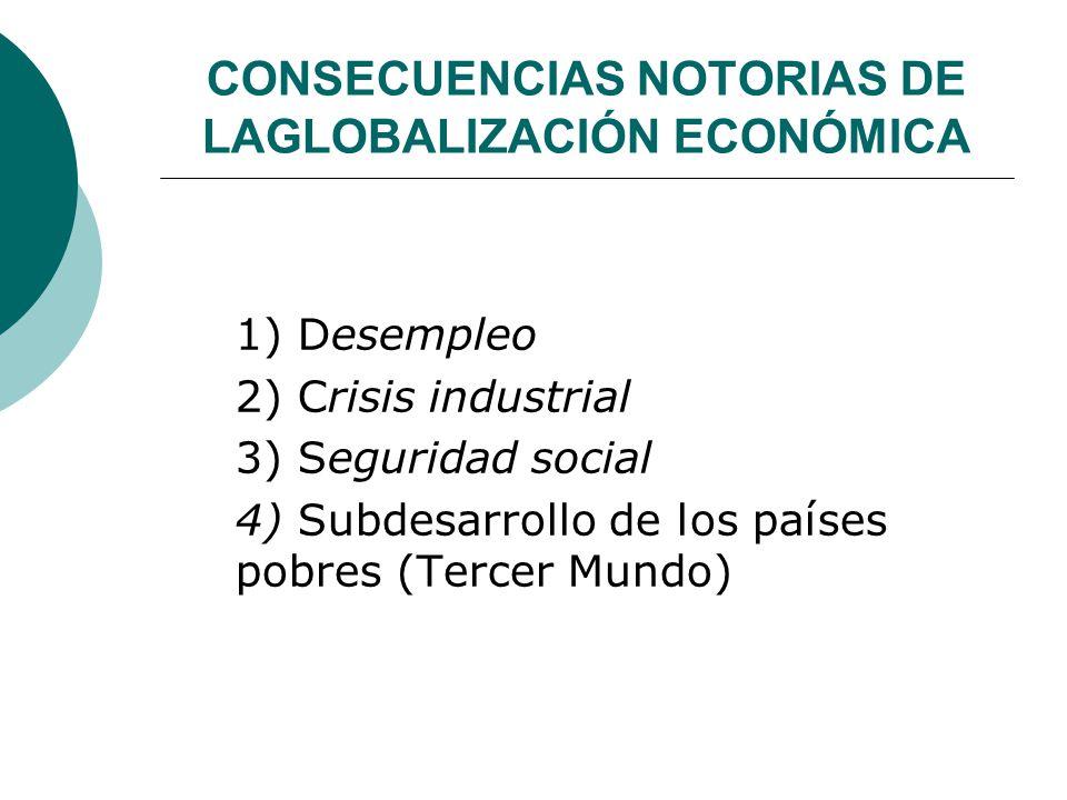 CONSECUENCIAS NOTORIAS DE LAGLOBALIZACIÓN ECONÓMICA