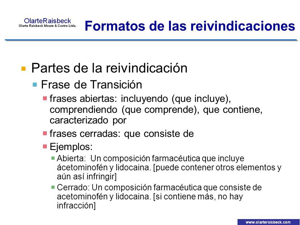 Formatos de las reivindicaciones