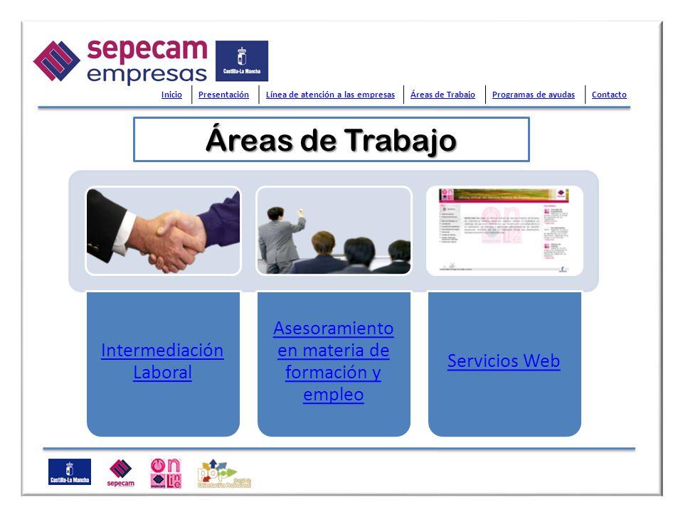 Áreas de Trabajo Inicio Presentación Línea de atención a las empresas