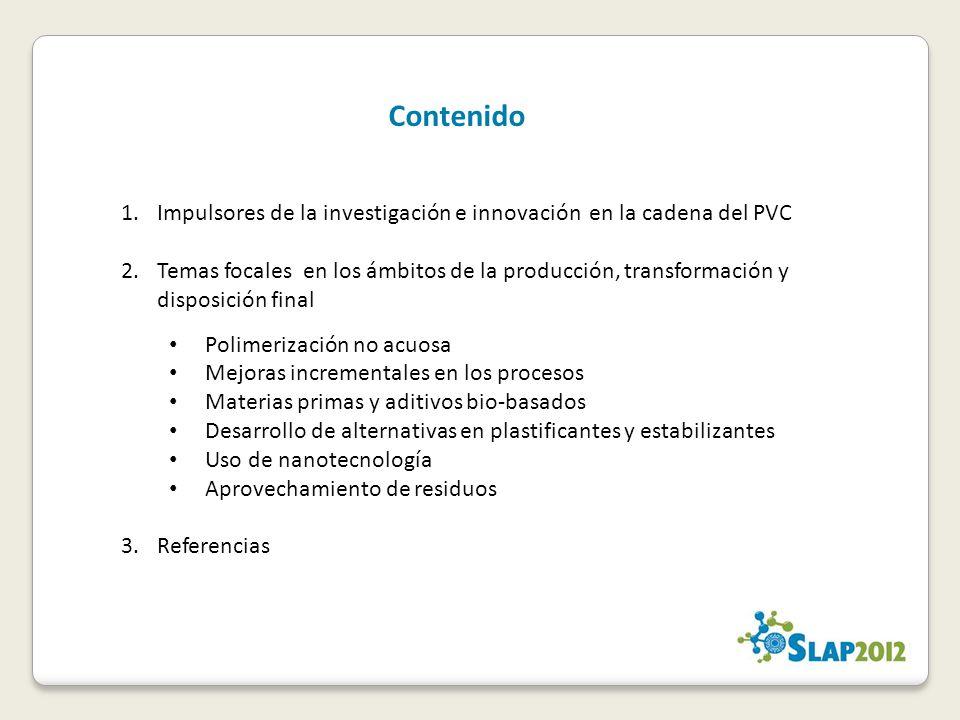 Contenido Impulsores de la investigación e innovación en la cadena del PVC.