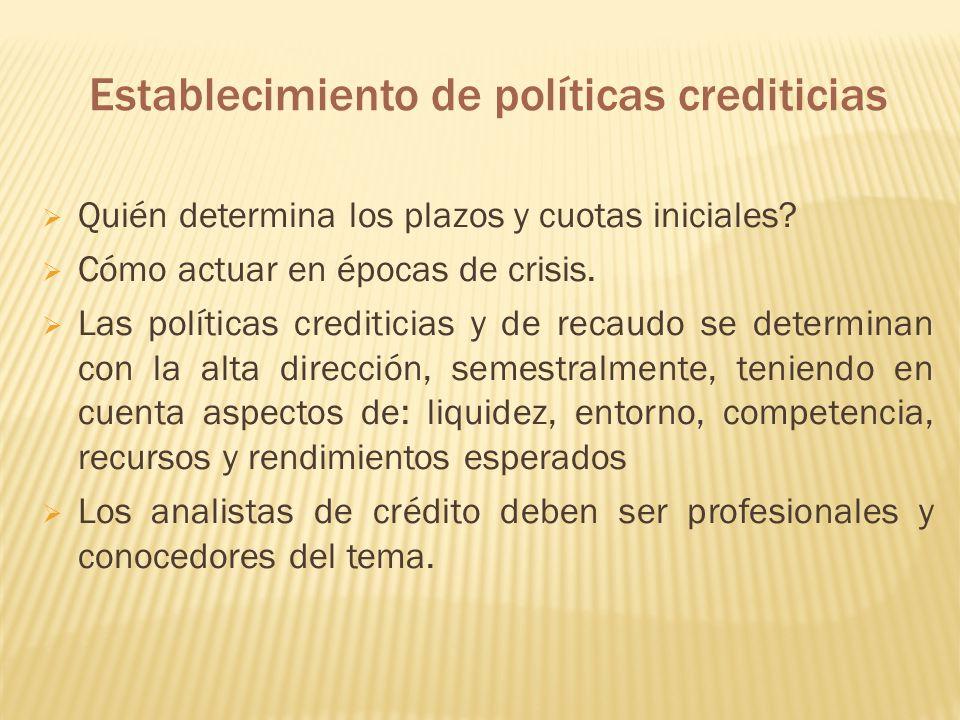 Establecimiento de políticas crediticias